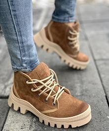buciki  #buty #brąz #sznuro...