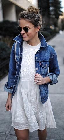 #biały #sukienka #jeans #styl