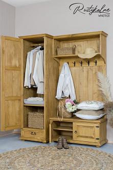 Drewniana garderoba do przedpokoju. Garderoba z szafą do przedpokoju z litego drewna sosnowego. Garderoba jest wykończona woskiem pszczelim #mebledrewniane #stylrustykalny #mebl...