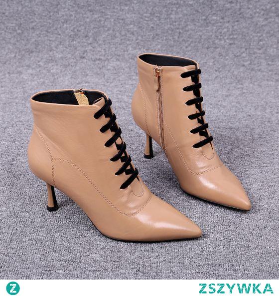 Piękne Beżowe Botki Zużycie ulicy Buty Damskie 2020 Skórzany 6 cm Szpilki Szpiczaste Boots