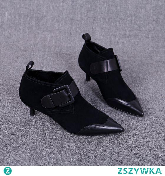 Proste / Simple Czarne Przypadkowy Botki Buty Damskie 2020 Skórzany 3 cm Szpilki Niski Obcas Szpiczaste Boots