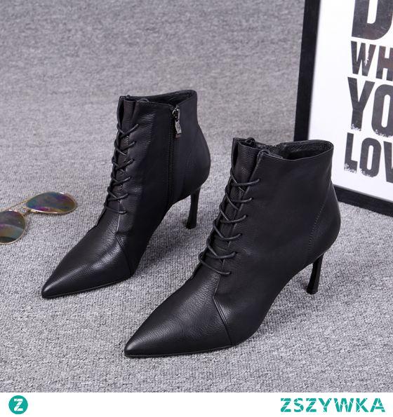 Moda Czarne Zima Zużycie ulicy Skórzany Botki Buty Damskie 2020 7 cm Szpilki Szpiczaste Boots