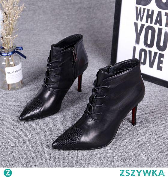 Moda Zima Czarne Zużycie ulicy Botki Buty Damskie 2020 Skórzany 7 cm Szpilki Szpiczaste Boots