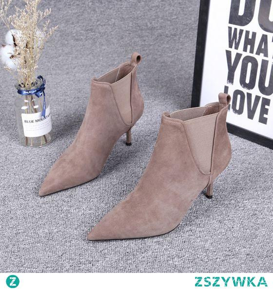 Proste / Simple Zima Khaki Przypadkowy Zamszowe Buty Damskie 2020 Skórzany Botki 7 cm Szpilki Szpiczaste Boots