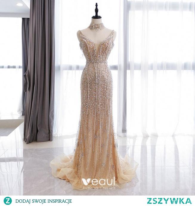 Wysokiej Klasy Złote Sukienki Wieczorowe 2020