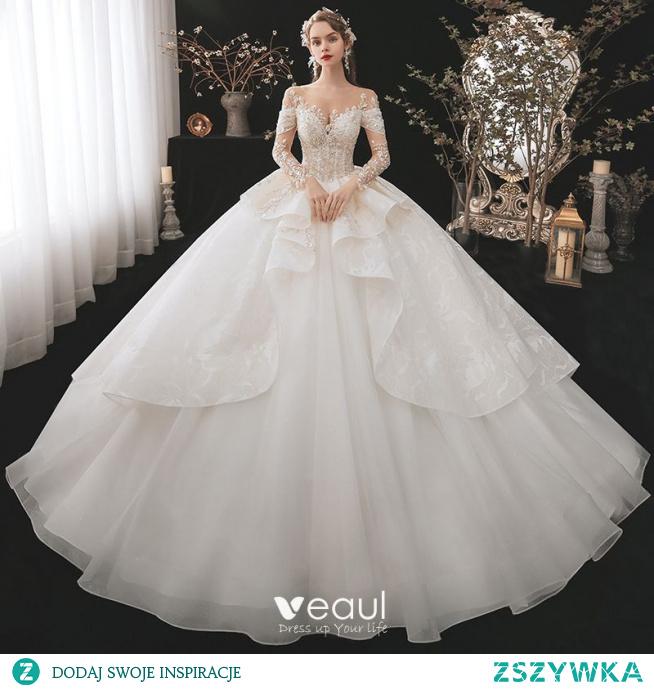 Luksusowe ślubna Szampan Suknie Ślubne 2020