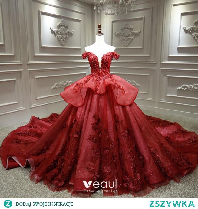 Luksusowe Burgund ślubna Suknie Ślubne 2020