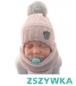 Szary komplet czapka z kominem dla noworodka - by Twojemu dziecku było ciepło podczas spędznaia czasu na zewnątrz! Sprawdż także inne kolory od Robik Radom