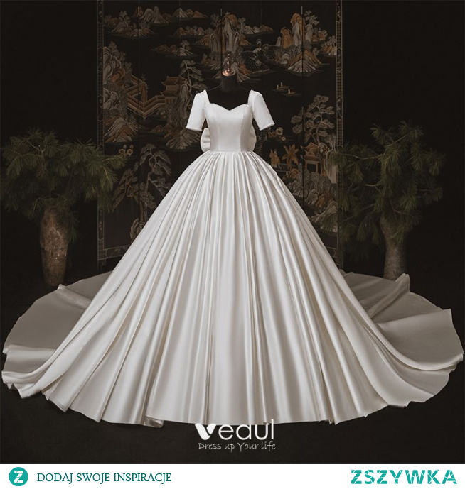 Luksusowe Kość Słoniowa Satyna ślubna Suknie Ślubne 2020