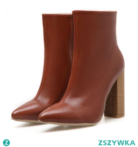 Moda Brązowy Zużycie ulicy Buty Damskie 2020 10 cm Grubym Obcasie Szpiczaste Boots