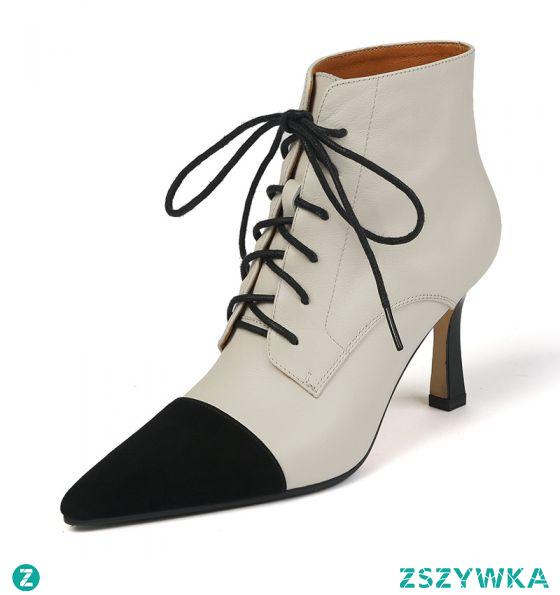 Piękne Beżowe Przypadkowy Dwa kolory Buty Damskie 2020 Skórzany 8 cm Szpilki Szpiczaste Boots