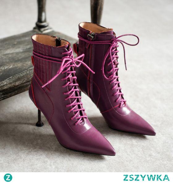 Klasyczna Zima Fioletowe Przypadkowy Skórzany Buty Damskie 2020 8 cm Szpilki Szpiczaste Boots