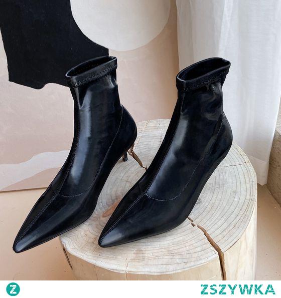 Moda Czarne Zużycie ulicy Skórzany Buty Damskie 2020 Botki 5 cm Szpilki Szpiczaste Boots