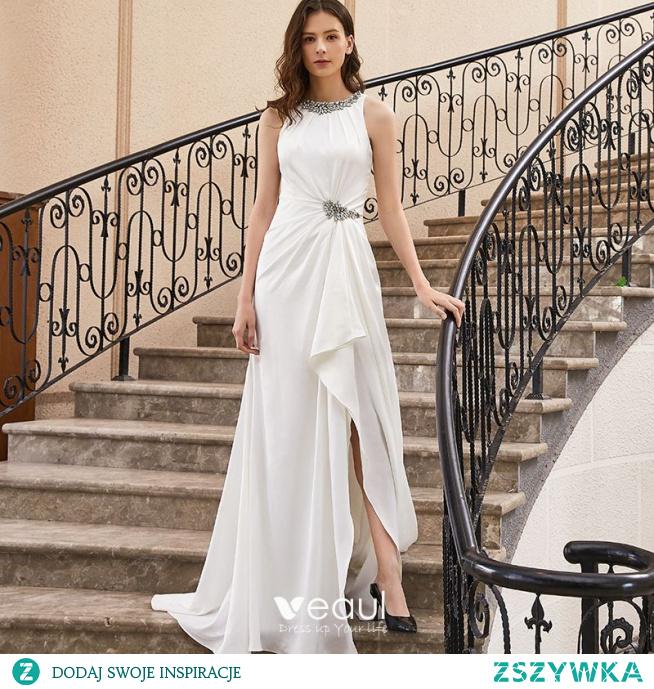 Wysokiej Klasy Białe Sukienki Wieczorowe 2020