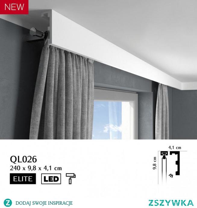 Nowoczesna osłona karnisza QL026 Mardom Decor z kolekcji Elite to sztukateria która szybko zamaskuje zarówno szyny karniszowe jak i karnisze montowane do ściany. Listwa do zabudowy karnisza QL026 to wytrzymały i całkowicie gładki profil bez wzorów. Maskownica karnisza posiada także miejsce na zastosowanie taśmy LED, która z pewnością pięknie oświetli wnętrze aranżowanego pomieszczenia.