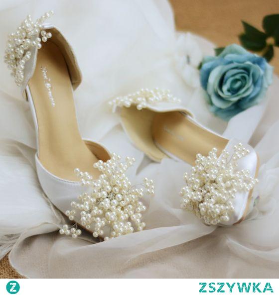 Elegancka Kość Słoniowa Perła Buty Ślubne 2020 Rhinestone 8 cm Szpilki Szpiczaste Ślub Na Obcasie