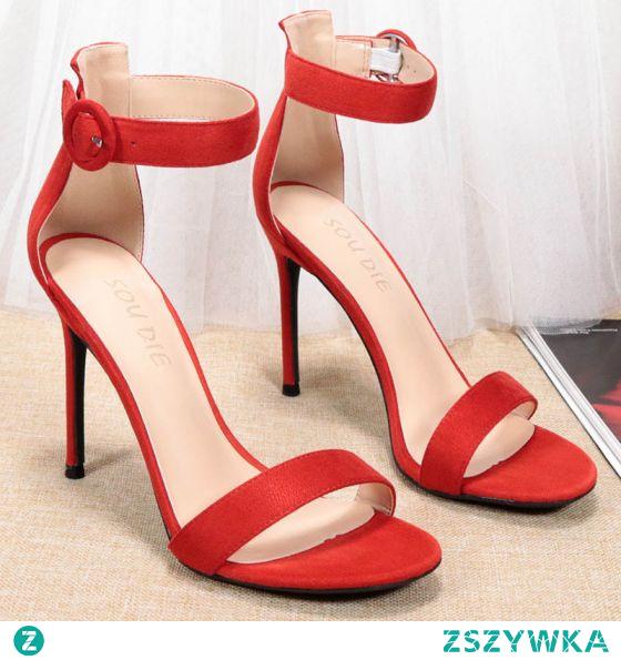Proste / Simple Czerwone Wieczorowe Zamszowe Sandały Damskie 2020 Z Paskiem 10 cm Szpilki Peep Toe Sandały