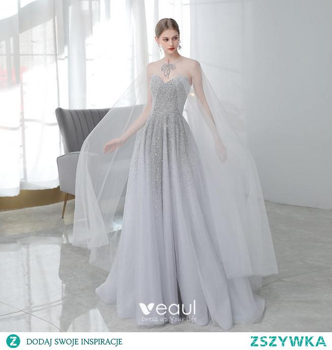 Wysokiej Klasy Szary Sukienki Na Bal Z Szalem 2020