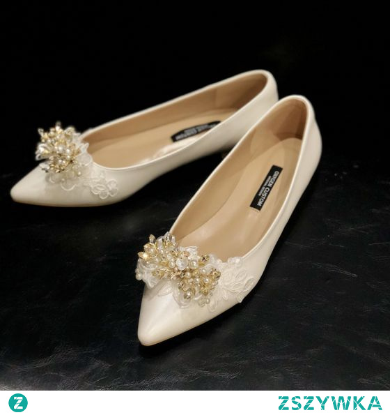 Eleganckie Kość Słoniowa Z Koronki Kwiat Rhinestone Płaskie Buty Ślubne 2020 Skórzany Perła Szpiczaste Ślub Na Obcasie