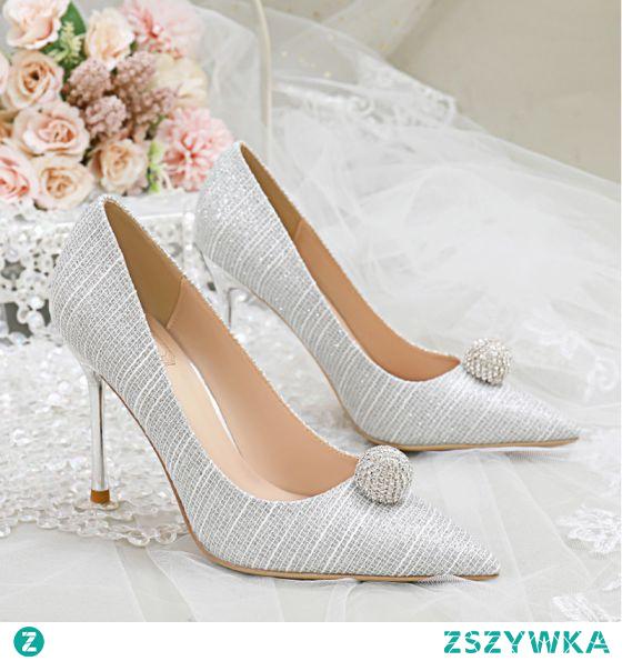 Uroczy Srebrny Cekinami Rhinestone Buty Ślubne 2020 10 cm Szpilki Szpiczaste Ślub Czółenka