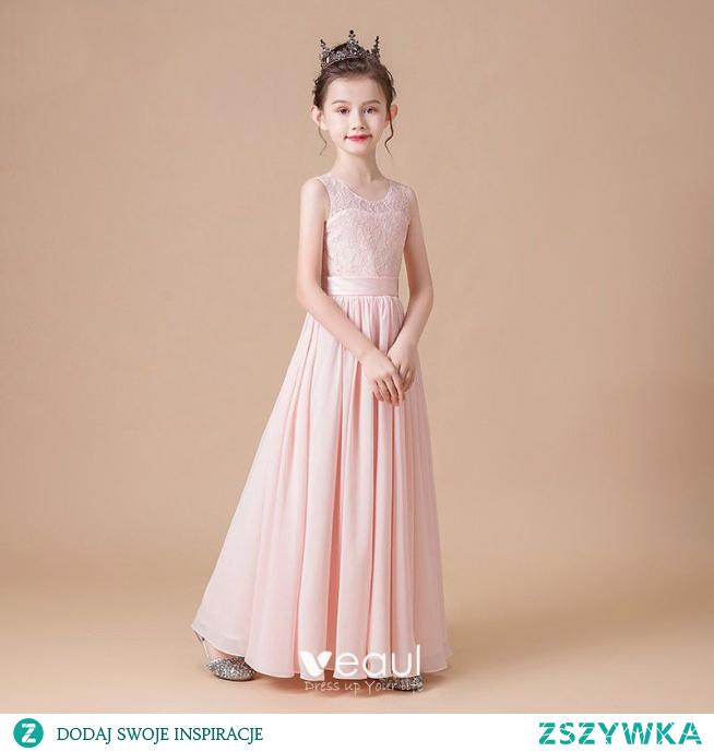 Eleganckie Różowy Perłowy Szyfon Ślub Sukienki Dla Dziewczynek 2020