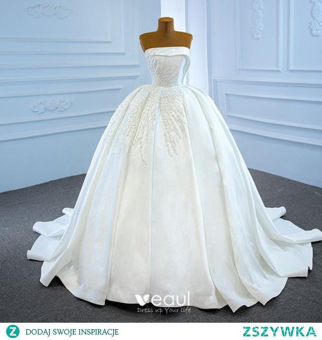 Luksusowe Białe Satyna ślubna Suknie Ślubne 2020