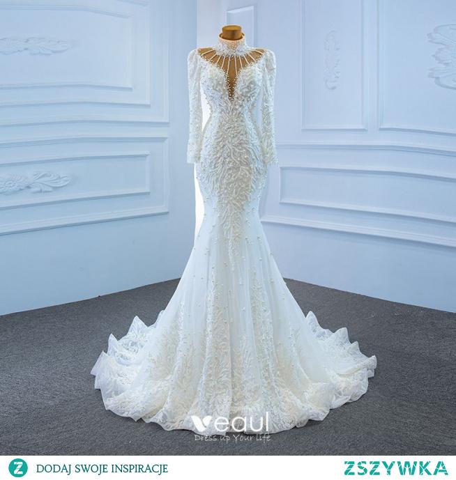 Luksusowe Białe Przezroczyste ślubna Suknie Ślubne 2020