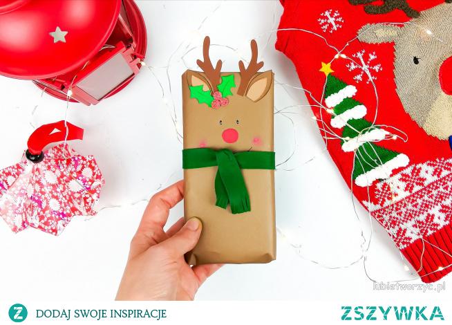 Tutorial ukazujący sposób pakowania prezentu (np. czekolady) w postać renifera ;)