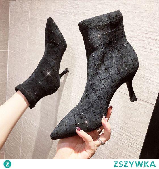 Moda Czarne Zużycie ulicy Rhinestone Buty Damskie 2020 Botki 6 cm Szpilki Szpiczaste Boots