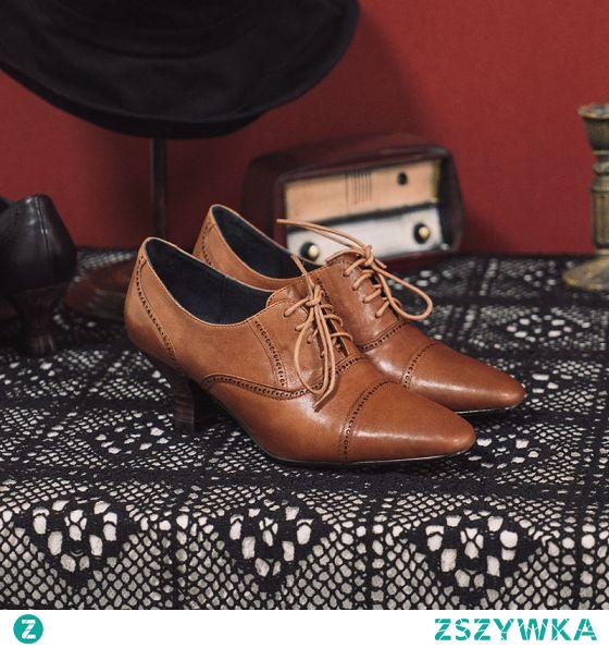 Vintage Brązowy Zużycie ulicy Buty Damskie 2021 Skórzany 6 cm Grubym Obcasie Szpiczaste Boots