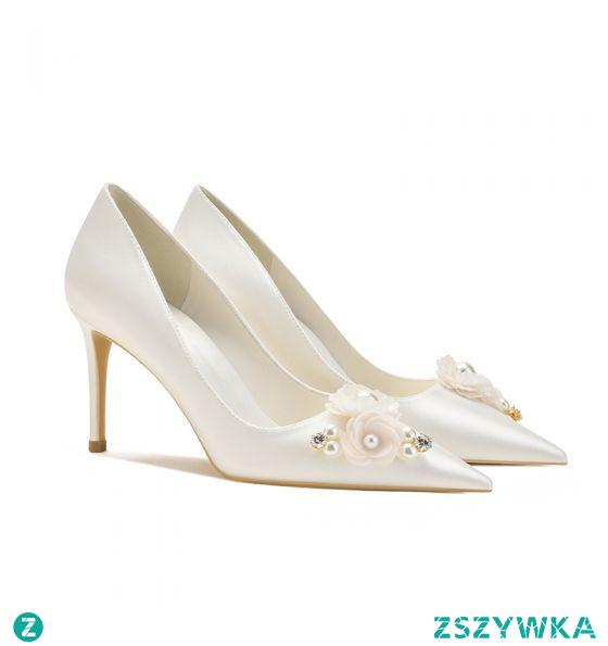 Eleganckie Satyna Kość Słoniowa Perła Rhinestone Buty Ślubne 2021 8 cm Szpilki Szpiczaste Ślub Czółenka
