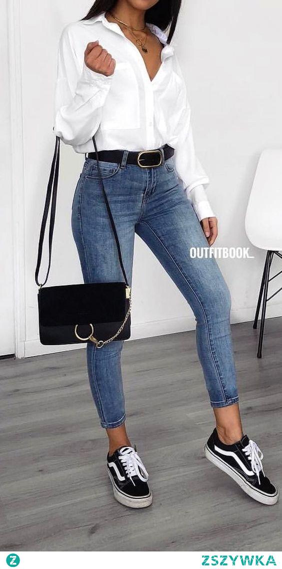 stylizacja z białą koszulą #styl #stylizacja #koszula #biel #jeansy #kobieta #modnieiwygodnie