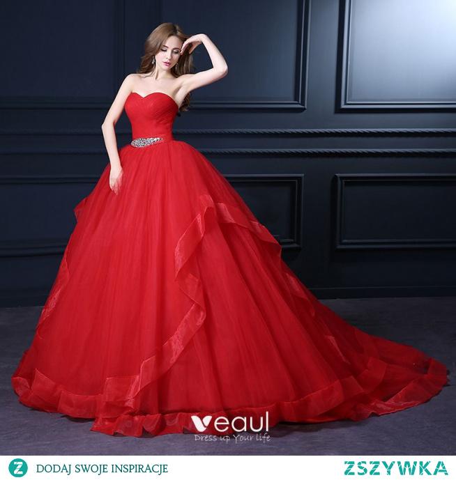 Vintage Quinceañera Czerwone Suknie Ślubne 2021