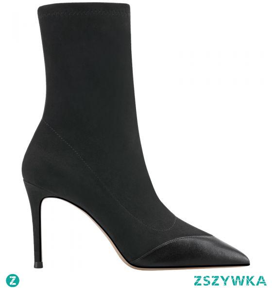 Moda Zima Czarne Zużycie ulicy Dziewiarskie Buty Skarpetowe 2021 Botki 10 cm Szpilki Szpiczaste Buty Damskie