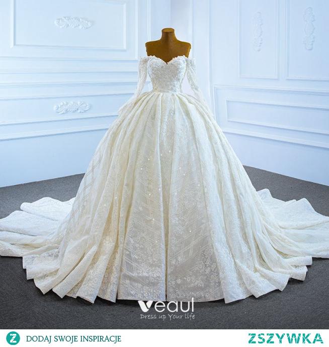 Luksusowe Białe ślubna Suknie Ślubne 2021