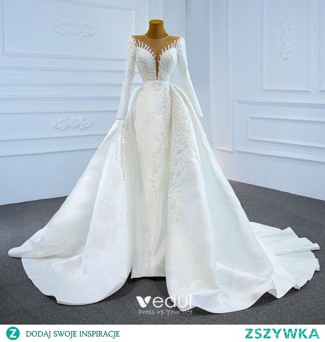Luksusowe Białe Satyna Zima Przezroczyste ślubna Suknie Ślubne 2021