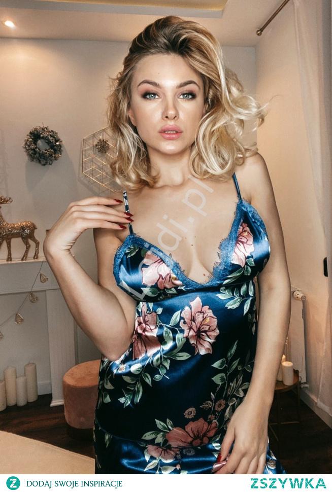 Satynowa piżama w kwiaty. Damska piżama satynowa. Piżama na prezent. Pomysły na prezenty. lejdi.pl