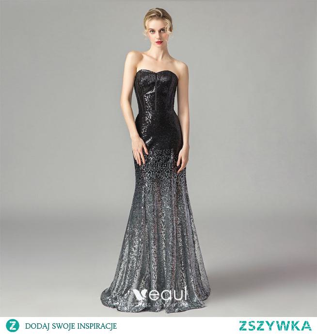 Błyszczące Czarne Gradient-Kolorów Srebrny Cekiny Gorset Sukienki Wieczorowe 2021 Syrena / Rozkloszowane Kochanie Bez Rękawów Długie Bez Pleców Sukienki Wizytowe