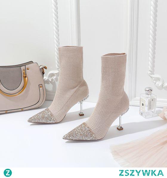 Moda Beżowe Wieczorowe Cekiny Dziewiarskie Buty Damskie 2021 8 cm Rhinestone Szpilki Szpiczaste Wysokie Obcasy