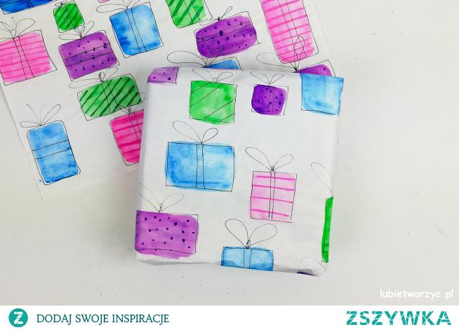 Tutorial ukazujący sposób wykonania papieru prezentowego z motywem bombek i prezentów ;)