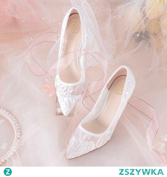 Piękne Białe Z Koronki Kwiat Przebili Buty Ślubne 2021 7 cm Szpilki Wysokie Obcasy Szpiczaste Ślub Czółenka