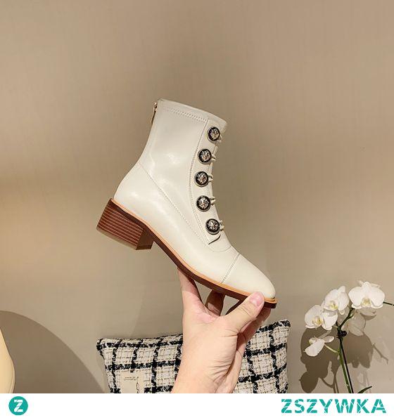 Moda Klasyczna Zima Beżowe Zużycie ulicy Buty Damskie 2021 Skórzany 4 cm Niski Obcas Kwadratowe Boots