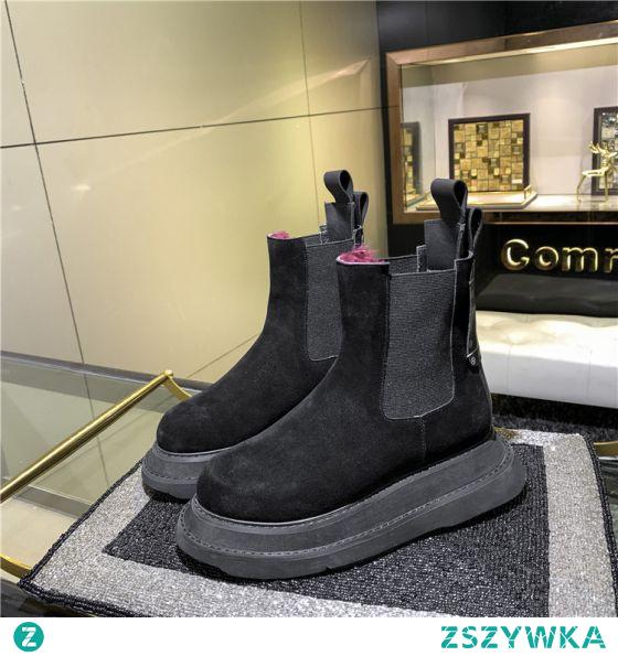 Piękne Zima Czarne Zużycie ulicy Na Platformie Zamszowe Snow Boots 2021 Skórzany Botki Wodoodporne Okrągłe Toe Buty Damskie