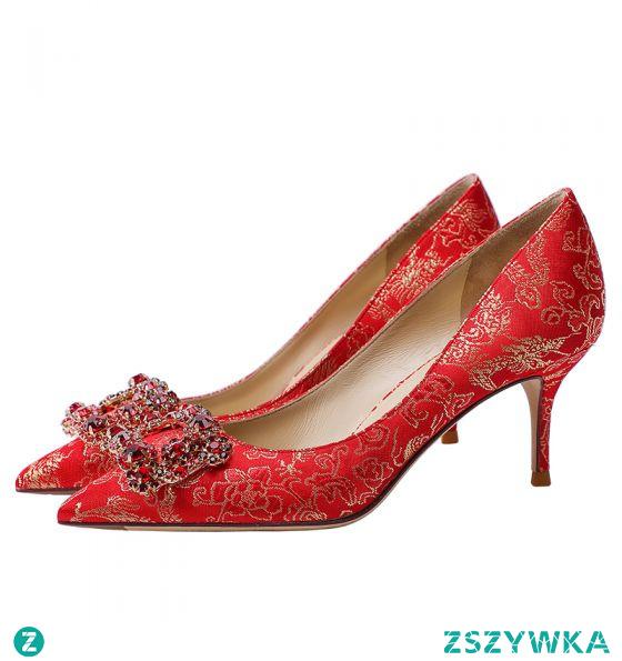 Elegancka Czerwone Jedwab Rhinestone Buty Ślubne 2021 Skórzany 6 cm Szpilki Wysokie Obcasy Szpiczaste Ślub Czółenka