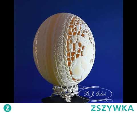 ażurowa pisanka rzeźbiona zajączek wielkanocny strusie jajo