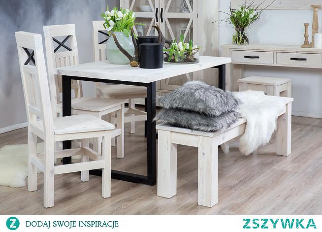 Kolekcja Steel to woskowane meble w stylu prowansalskim. Wykonane z litego drewna sosnowego, woskowane w kolorze białym z ręcznie wykonanymi okuciami. Drewniany stół z krzesłami do jadalni, witryna, konsola z taboretem oraz ławka. #meblewoskowane #drewno #mebledrewniane #vintage #salon #jadalnia #meblezdrewna #wnętrza #aranażacje #stół #jadalnia #rodzina