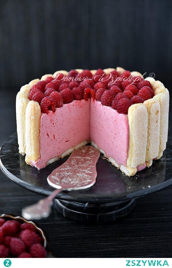 Charlotte z musem malinowym #cake #raspberry