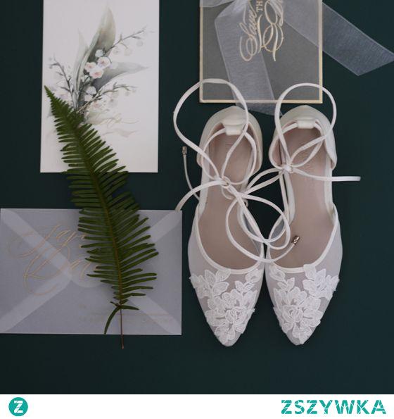 Eleganckie Białe Z Koronki Kwiat Buty Ślubne 2021 Skórzany Koronki 6 cm Szpilki Szpiczaste Ślub Wysokie Obcasy