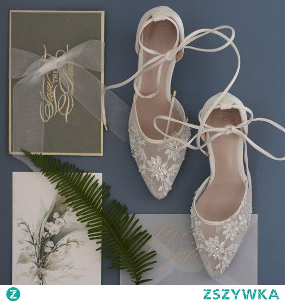 Wysokiej Klasy Białe Przezroczyste Z Koronki Kwiat Buty Ślubne 2021 Skórzany 7 cm Szpilki Szpiczaste Ślub Wysokie Obcasy