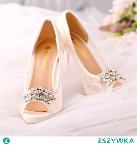 Seksowne Białe Przezroczyste Z Koronki Kwiat Rhinestone ślubna Buty Ślubne 2021 10 cm Szpilki Peep Toe Ślub Wysokie Obcasy